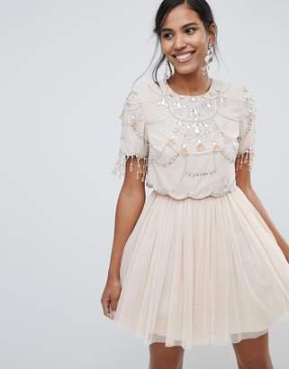 Asos Design DESIGN crop top fringe embellishment tulle mini dress