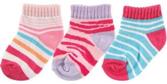 Luvable Friends Newborn Baby Boys' and Girls' Novelty Print No Show Socks 3-Pack, Choose Your Color & Size