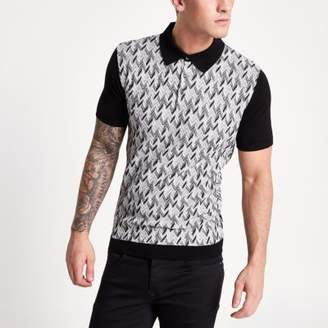 River Island Black jacquard knit slim fit polo shirt