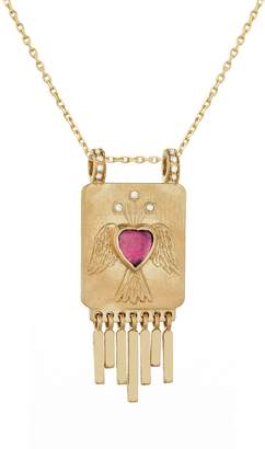 Celine Daoust Pink Tourmaline Heart, Angel and Golden Fringe Necklace - Yellow Gold