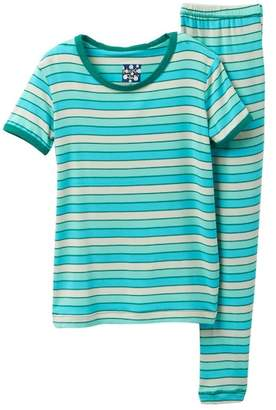 Kickee Pants Printed Boy Tropical Stripe Short Sleeve Pajama Set (Baby, Toddler, Little Boys, & Big Boys)
