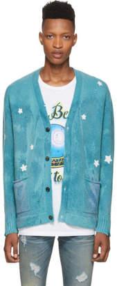 Amiri Blue Ombre Star Patchwork Cardigan