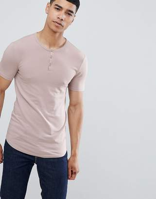 Asos DESIGN muscle fit t-shirt with grandad neck in pink