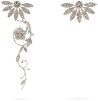 Burberry Half Daisy crystal-embellished mismatched earrings