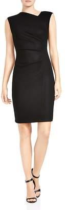 Halston Wool Asymmetrical-Neck Sheath Dress