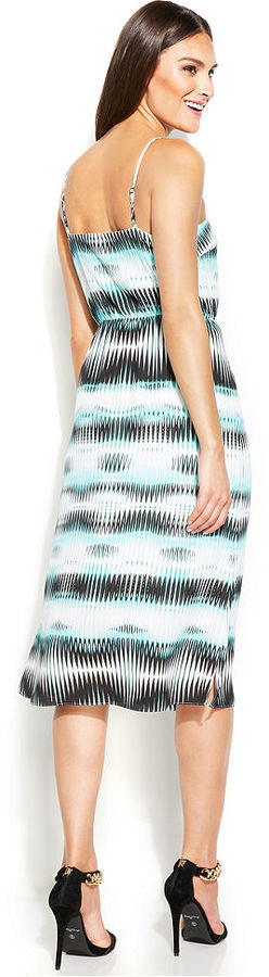 Vince Camuto Printed Blouson Midi Dress