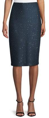 St. John Shimmer Sequin Knit Pencil Skirt