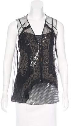 Rozae Nichols Embellished Silk Top