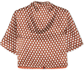 Diane von Furstenberg Polka-dot Silk-satin Blouse - Brown