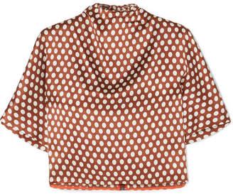 Diane von Furstenberg Polka-dot Silk-satin Blouse - Brown