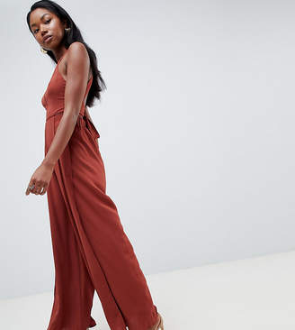 Parallel Lines Wide Leg Split Jumpsuit With Tie Back and Ladder Insert