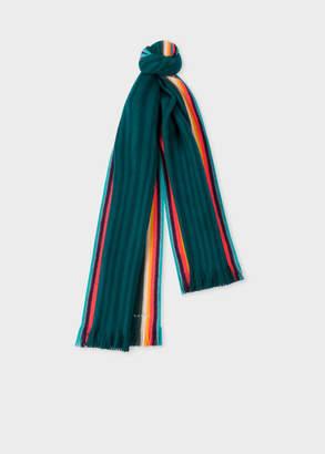 Paul Smith Women's Dark Green 'Artist Stripe' Band Merino Wool Scarf