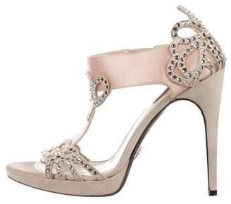 Cesare Paciotti Crystal-Embellished Satin Sandals