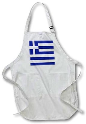 3dRose Greek Flag, Medium Length Apron, 22 by 24-inch, With Pouch Pockets