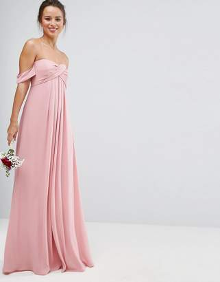 Asos DESIGN Bridesmaid bandeau tie front maxi dress