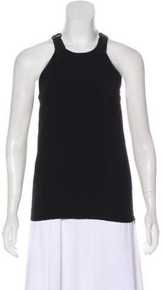 Diesel Black Gold Leather-Trimmed Sleeveless Top