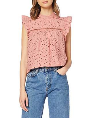 Dorothy Perkins Women's AO Broderie Button Front TEE T-Shirt,6 (Size:6)
