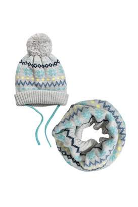 H&M Hat and Tube Scarf - Gray - Kids
