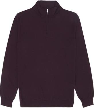 1863157be1b1 Reiss Blackhall - Merino Wool Zip Neck Jumper in Bordeaux