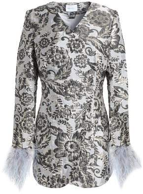 Alice McCall Bold And The Beautiful Ostrich Feather-Trimmed Brocade Mini Dress