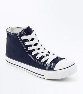 New Look Navy Canvas Stripe Sole High Top Trainers
