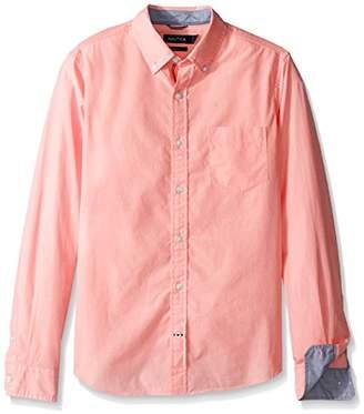 Nautica Men's Long Sleeve Solid Button Down Shirt