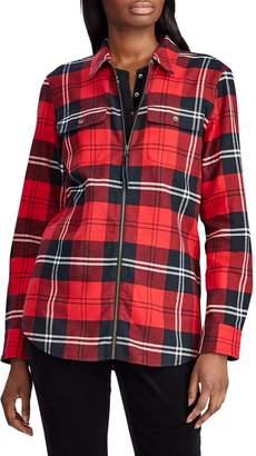 Chaps Petite Straight-Fit Zip-Up Plaid Cotton Shirt