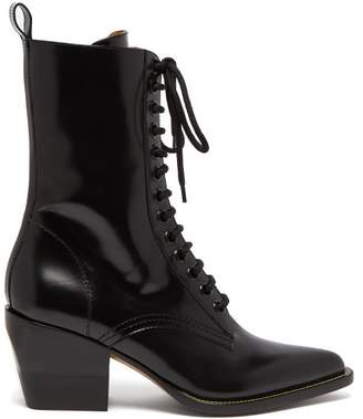 Chloe - Point Toe Lace Up Leather Boots - Womens - Black