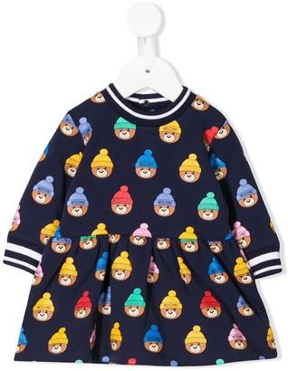Moschino Kids teddy print long-sleeve dress