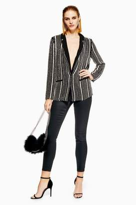 Topshop Stripe Embellished Jacket