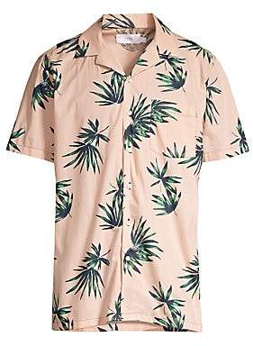 Onia Men's Palm-Print Cotton Vacation Shirt