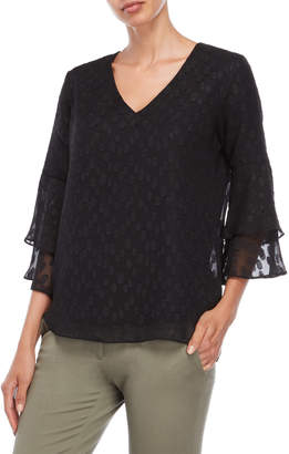 Sioni Dotted V-Neck Tiered Bell Sleeve Top