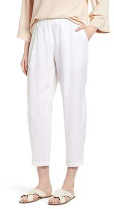 Eileen Fisher Pleated Linen Blend Ankle Trousers