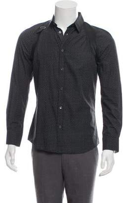 Alexander McQueen Leather-Accented Button-Up Shirt Leather-Accented Button-Up Shirt