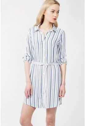 Select Fashion Fashion Womens Blue Summer Stripe Shirt Dress - size 6