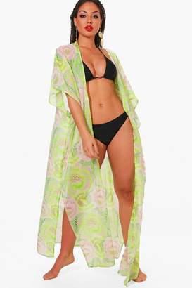 boohoo Beth Neon Citrus Maxi Beach Kimono