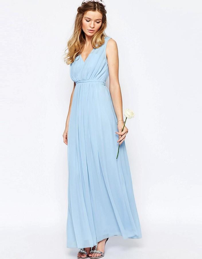 Vila cinched waist maxi dress women for Cinched waist wedding dress