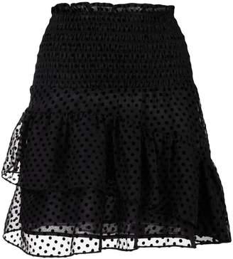 Ganni sheer polka dot ruffled skirt