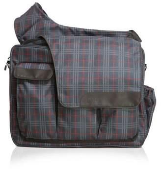 Diaper Dude Plaid Messenger II Bag (Navy/Red)