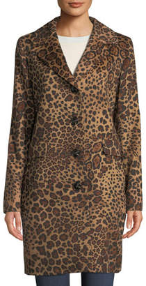 Sofia Cashmere Leopard-Print Button-Down Coat