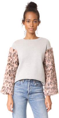 Clu Clu Too Faux Fur Sleeve Sweatshirt $257 thestylecure.com