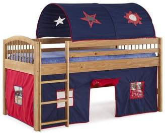 LOFT Alaterre Addison Cinnamon Finish Junior Bed, Blue Tent and Playhouse with Red Trim