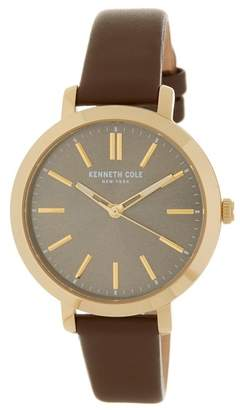 Kenneth Cole New York Women's Classic Leather Strap Watch, 36 x 45mm