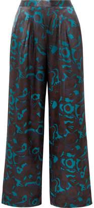 Eres Eugene Floral-print Silk-satin Pajama Pants - Blue