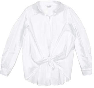 Habitual Isla Tie-Front Collared Shirt w/ Ruffle Back, Size 7-14