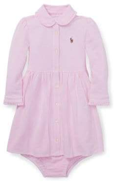 Ralph Lauren Childrenswear Baby Girl's Two-Piece Knit Mesh Cotton Oxford Dress Bloomers Set