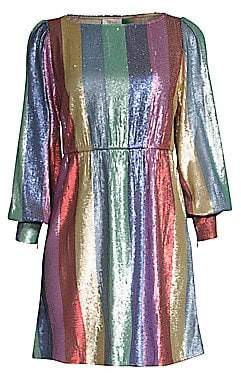 Rixo Women's Ava Rainbow Mini Dress