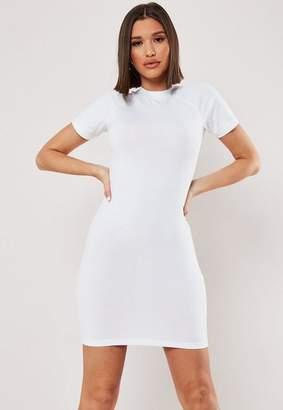 Missguided White Raglan High Neck Bodycon Mini Dress