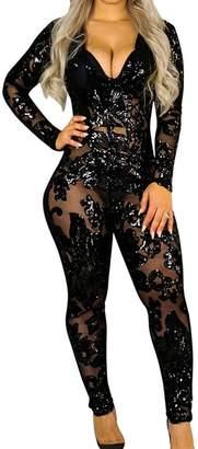 Aecibzo Womens Sexy See Through Sequins Bodycon Clubwear Jumpsuit Romper Bodysuit (XL, )