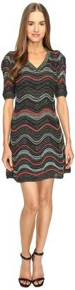 M Missoni Lurex Ripple V-Neck Short Sleeve Dress Women's Dress